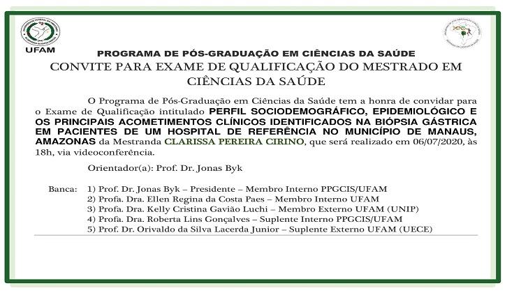 Convite - Qualificação Clarissa Pereira Cirino